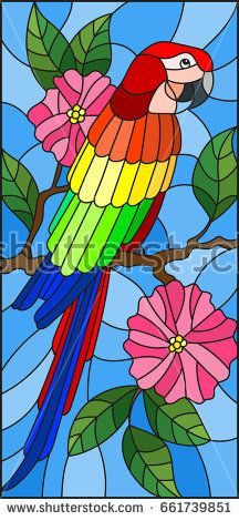 Illustration in the style of stained glass with a beautiful parakeet sitting on a branch of a blossoming tree on a background of leaves and sky Stock Vector - 80441231 Stained Glass Quilt, Stained Glass Designs, Stained Glass Panels, Stained Glass Patterns, Glass Painting Patterns, Fabric Painting, Bird Fountain, Geometric Painting, Tree Sculpture