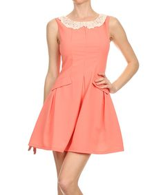 Look what I found on #zulily! Peach Lace-Collar Fit & Flare Dress by Kokette #zulilyfinds
