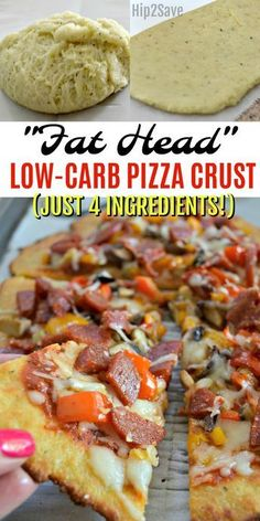 "Try ""Fat Head"" pizza for a low carb pizza crust option that tastes amazing and is simple to make using just four main ingredients!"