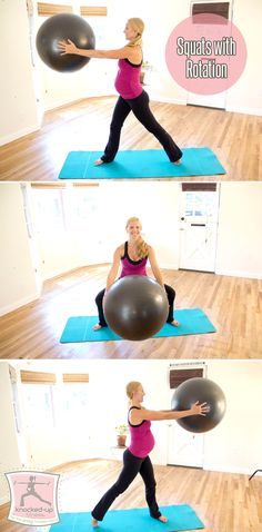 From Knocked-Up Fitness: Squats + Rotation Exercise! A favorite during pregnancy and beyond!