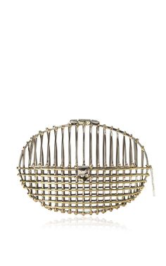 Anndra Neen Alpaca And Brass Two Tone Oval Cage Clutch