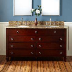 "60"" Watkins Double Vanity for Undermount Sinks - Walnut"