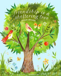 Albergando impresión inspirador de árbol | Pintura acuarela | Mano con letras…