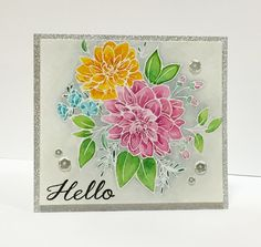 WPlus9's new, Beautiful Bouquets - Dahlias stamp set #cardmaking