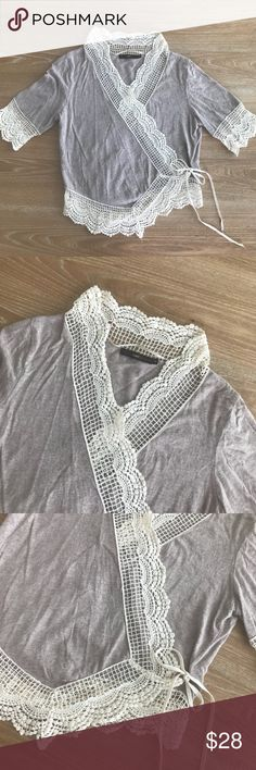 HAZEL MEDIUM CROCHET CARDIGAN TOP 💗Condition: EUC, No flaws, no rips, holes or stains. COLOR: Beige and taupe/gray 💗Smoke free home/Pet hair free 💗No trades, No returns. No modeling  💗 I don't drop prices, make me offers!  💗Shipping next day. Beautiful package! 💗ALL ITEMS ARE OWNED BY ME. NOT FROM THRIFT STORES 💗All transactions video recorded to ensure quality.  💗Ask all questions before buying hazel Tops