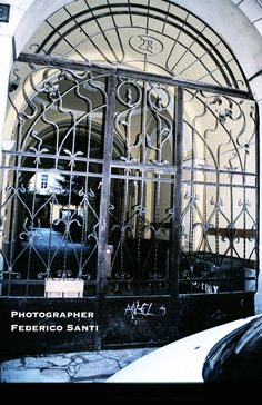 Wrought Iron Courtyard Gate. Circa 1900. Budapest Hungary. In the center is a door opening to allow pedestrian entrance; the entire front of this gate opens on either side to allow auto entrance and at the turn of the century a horse and carriage.