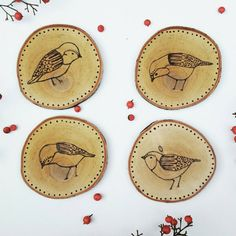 Check out these ADORABLE bird coasters. Folk bird. https://www.etsy.com/listing/482579148/folk-bird-wood-coasters-wood-burned