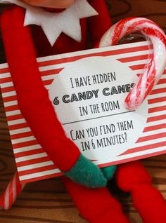 I'm not an Elf on the Shelf person, but like the hidden candy canes concept.