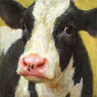 Koe Cow Photos, Cow Pictures, Pictures To Paint, Cow Pics, Farm Paintings, Bob Ross Paintings, Animal Paintings, Baby Farm Animals, Big Animals