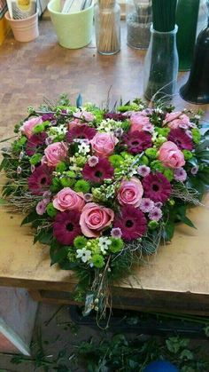 with gerbera www.be # funeral You are in the right place about funeral food Here we offer you the most beautifu Valentine Flower Arrangements, Funeral Floral Arrangements, Beautiful Flower Arrangements, Beautiful Flowers, Funeral Bouquet, Funeral Flowers, Grave Flowers, Cemetery Flowers, Deco Floral