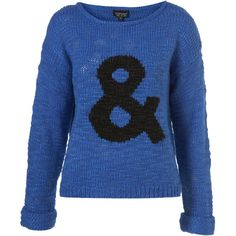 Knitted Blue Ampersand Symbol Jumper ($92) ❤ liked on Polyvore featuring tops, sweaters, jumpers, shirts, women, sleeve shirt, blue sweater, jumpers sweaters, roll top and shirt sweater