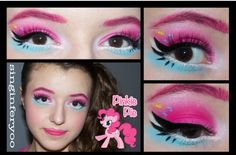 Hey guys, check out this sweet look by my sister Abby (singinferyoo) inspired by Pinkie Pie from My Little Pony: Friendship Is Magic! Pinkie Pie Costume, Pinkie Pie Cosplay, Pinky Pie, My Little Pony Birthday, My Little Pony Party, Kids Makeup, Makeup Art, Cosplay Makeup, Costume Makeup