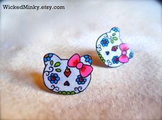 Hello Kitty Sugar Skull Earrings