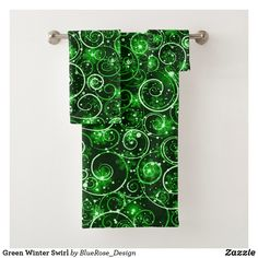 Green Winter Swirl Bath Towel Set Bath Towel Sets, Bath Towels, Christmas Items, Holiday Outfits, Christmas Card Holders, Hand Sanitizer, Keep It Cleaner, Colorful Backgrounds, Holiday Cards