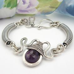 Sterling Silver Wirework Bracelet, Wire-Wrapped Plum Chalcedony Gemstone Briolette.