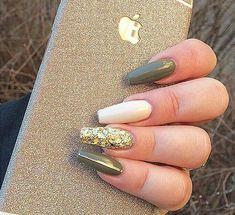 Gel Nail Art Designs & Ideas 2019 - style you 7 Green Nail Designs, Gel Nail Art Designs, Fall Nail Designs, Nails Design, Bright Summer Acrylic Nails, Fall Acrylic Nails, Fall Nail Art, Gold Glitter Nails, Pink Nails