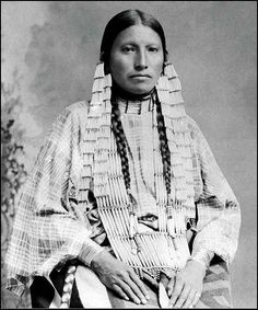 Mrs Thunder Bear, the famous interpreter among the Sioux's - Circa 1891 - Photographer unknown. Cropped.