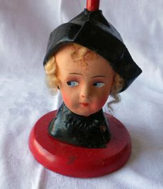 Vintage Antique Doll Child's Hat Stand Germany Papier Paper Mache Wooden Leather | eBay