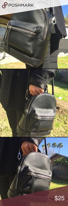Black faux leather mini backpack handbag Mini backpack with a long adjustable purse handle instead of backpack handles! It's sleek and smol and makes a cute accessory for many outfits. Free shipping off the app✨ Bags Mini Bags