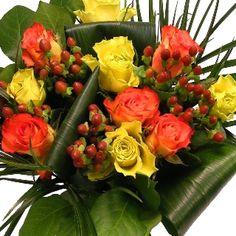 Zest Hand-tied Bouquet of flowers in beautiful autmumn colours  http://www.eden4flowers.co.uk