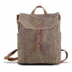 EAZO - Vintage Look Waxed Canvas Backpack Green ($98) ❤ liked on Polyvore featuring men's fashion, men's bags, men's backpacks, mens travel backpack, mens laptop backpack and mens drawstring backpack