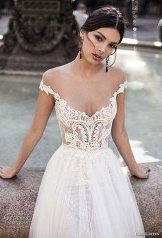 gali karten 2017 bridal off the shoulder v neck heavily embellished bodice tulle skirt romantic a line wedding dress sweep train (1) zv -- Gali Karten 2017 Wedding Dresses