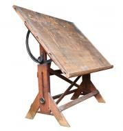 Rustic Wooden Drafting Table by Aurora Mills, ca. 1920's. $695.00