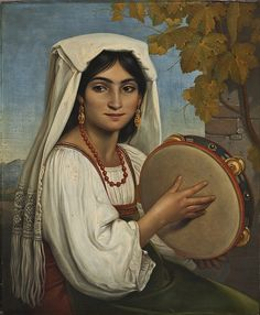 Roman woman with tambourine Frame Drum, Modern Artists, Artist Names, Sculpture, Art History, Art Reproductions, Les Oeuvres, Oil On Canvas, Digital Prints