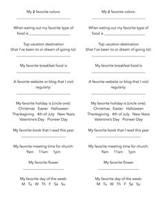 Favorite Things Questionaire