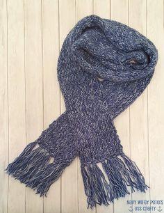 Denim Mist Knitted Scarf ~ USS Crafty