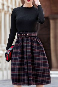 Elegant Long Sleeve High Waist Plaid Print Midi Dress For Women 133f4455fc90