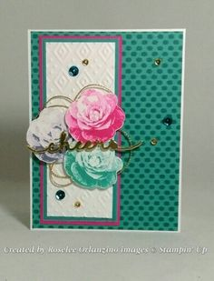 #GDP021 Color Challenge Bermuda Bay, Melon Mango, Wisteria Wonder  Stampin' Up Picture Perfect, bohemian dsp and embossing folder, cheers word die
