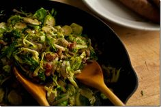 Braised Brussels Sprouts with Bacon and Hard Cider - Brussels Sprouts, Shallots, Bacon, Hard Cider, S