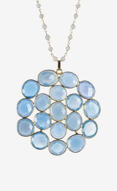 Rivka Friedman | Blue Chalcedony & Moonstone Bead Flower Pendant Necklace