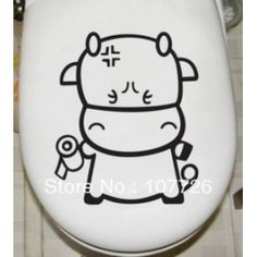 Cartoon Cow Toilet Sticker Decal Wall Mural Art Decor Funny Bathroom Sticker Gift  20pcs/lot