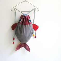 Along with my Fish friend - Drawstring backpack for children - Nursery - OOAK. €30,00, via Etsy.