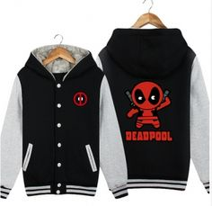 Thick Deadpool fleece baseball jacket for winter XXL
