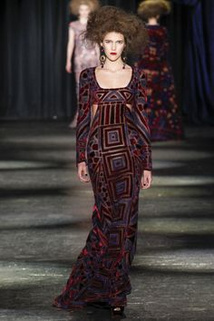 Klimt inspired cut velvet on chiffon - almost backless -- Naeem Khan Fall 2016 Ready-to-Wear Fashion Show