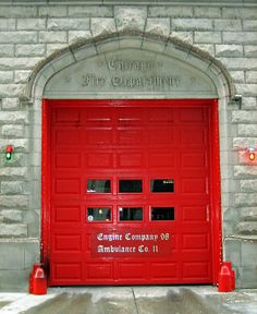 Door to the fire station housing Engine Company 98 in Chicago, Illinois Tenuous Link: firehouse. Chicago Fire Department, Fire Dept, Engine House, Fire Photography, Fire Equipment, Fire Doors, Door Sets, Red Interiors, Street Signs