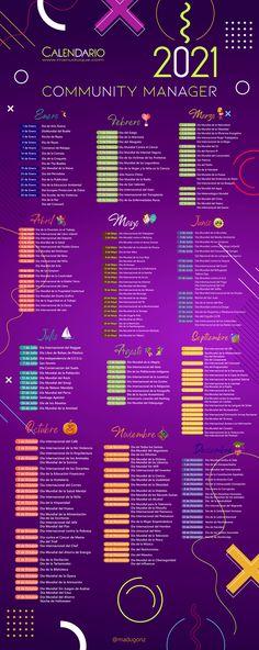 Calendario del Community Manager con todos los acontecimientos y celebraciones del año, para compartir en Redes Sociales #RRSS Marketing Tools, Marketing Digital, Marketing And Advertising, Online Marketing, Social Media Marketing, Comunity Manager, Herbalife, Time Management, Community