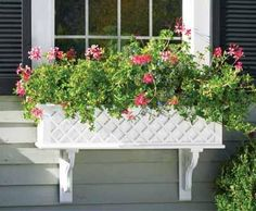 """Lattice Window Box - Classic lattice inlaid design makes planting more fun ! Each solid cellular vinyl window box has two drainage holes, solid brackets and require no liner. Standard rectangle, 9 1/16""""H, 8 1/2""""D. in six widths.Each window box has two drainage holes. Widest boxes (60"""" and 72"""" wide) have three supporting brackets all others have two brackets."""