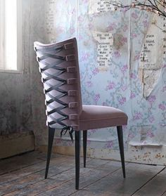 How sexy is this chair?  Velvet-upholstered Spank Stiletto chair with black satin corset detailing on the back
