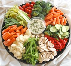 Vegetable platter only I would take out the mushrooms and I would make a beefy onion dip!