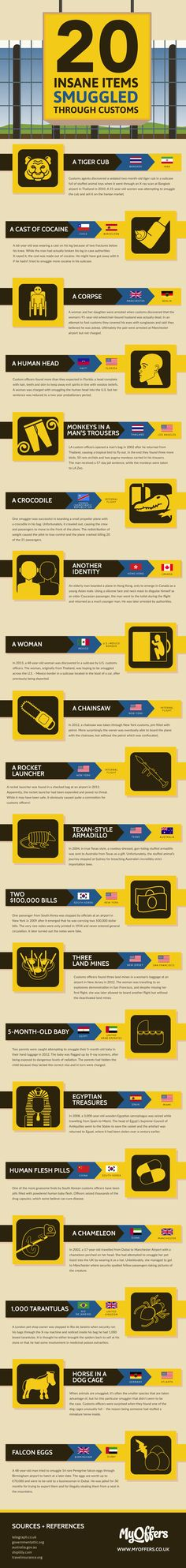 20 Insane Items Smuggled Through Customs Infographic. Topic: Travel, airport, weapon, gun, rifle, crime.