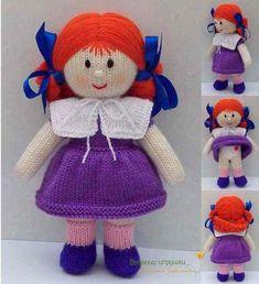 El yapımı bebek örgü modelleri Knitted Doll Patterns, Knitted Dolls, Amigurumi Patterns, Crochet Dolls, Knitting Patterns Free, Knitting Stitches, Baby Knitting, Harry Potter Knit, Handgemachtes Baby