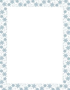 Blue snowflake border paper. Free downloads at http://pageborders.org/download/snowflake-border/