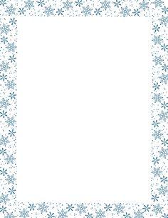Blue snowflake border paper. Free downloads at http://pageborders.org/download/snowflake-border/
