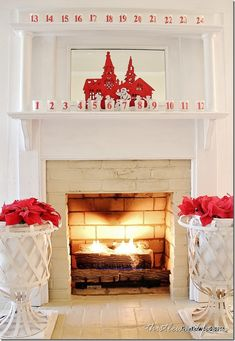 #Christmas Mantel in a merry red and white holiday theme.