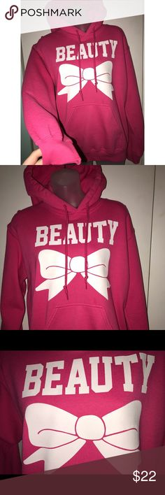 """Pink """"Beauty"""" Hoodie Worn one time for Valentine's Day. Very comfy. The bow has very slight cracks in it that you can only see if you look very close, which is pictured above. Tops Sweatshirts & Hoodies"""