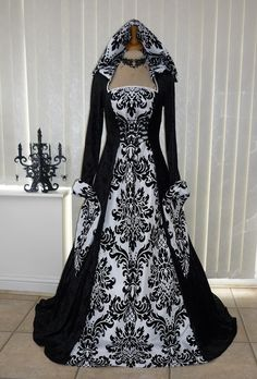 Black and white Baroque printed gown. I like everything except the bell sleeves.